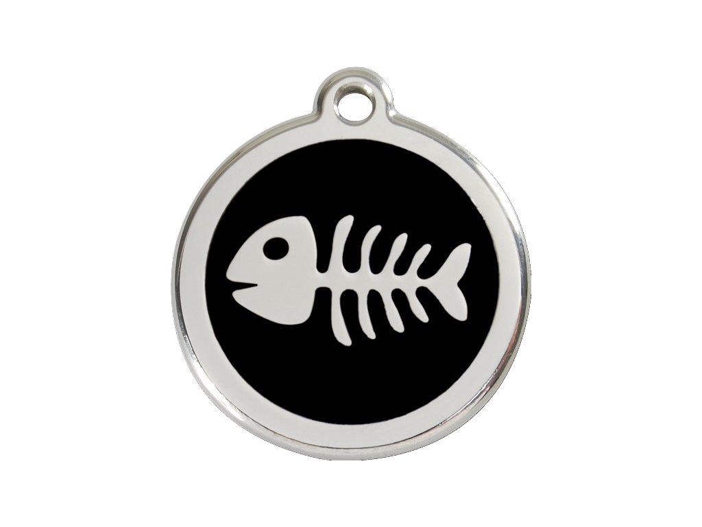Malá známka pro psy, černá, kostra rybky