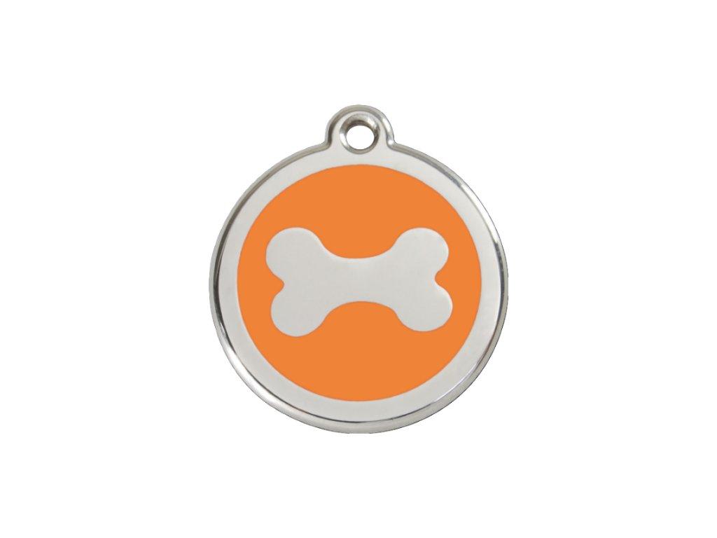 Známka pro psa RED DINGO malá, oranžová kost, s rytím