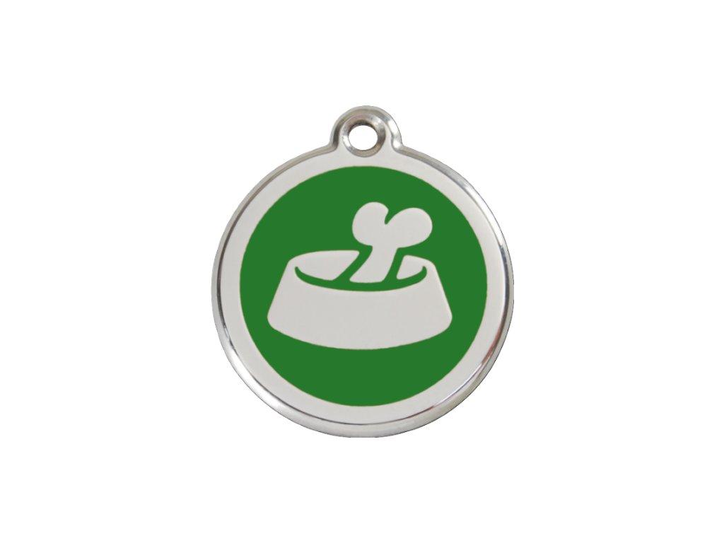 Známka pro psa RED DINGO malá, zelená miska, s rytím