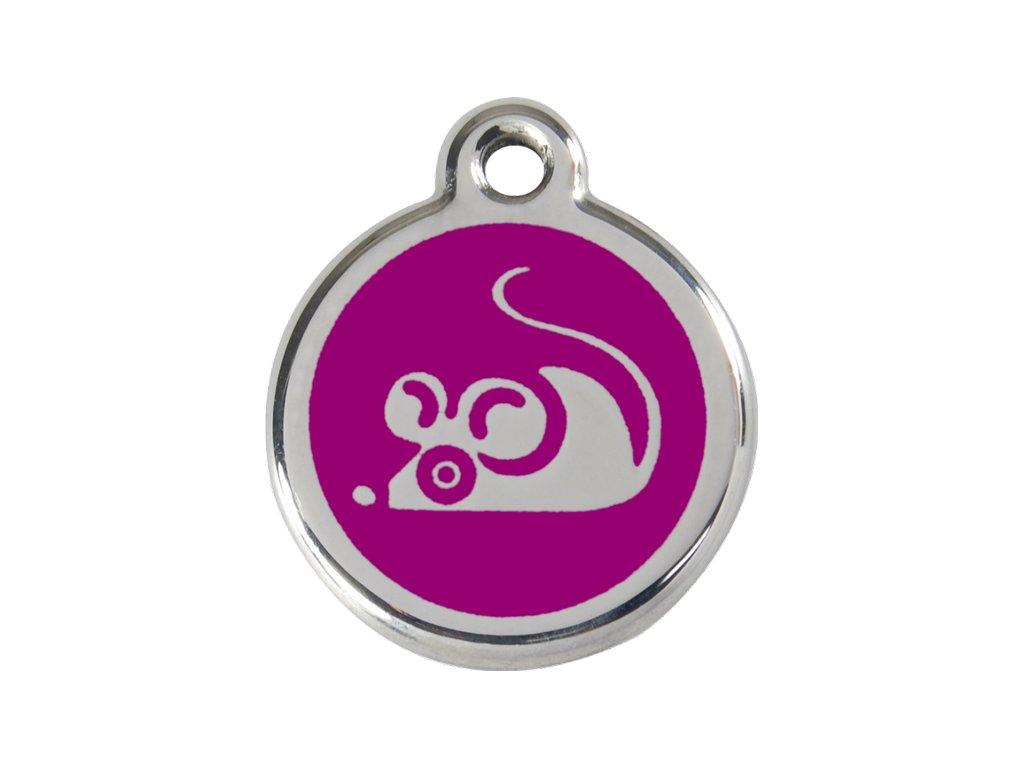 Známka pro psa RED DINGO malá, fialová myška, s rytím