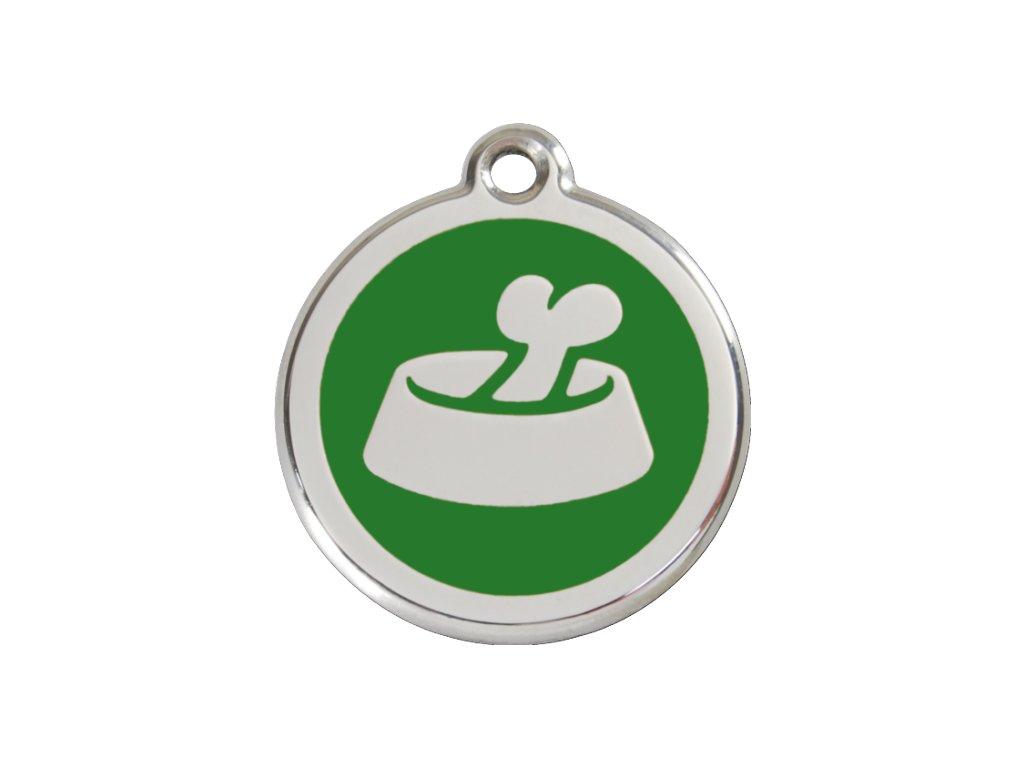 Střední známka pro psy, zelená, miska