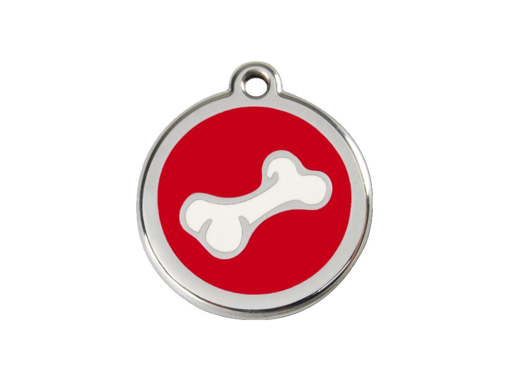 Střední známka pro psy, červená, kost