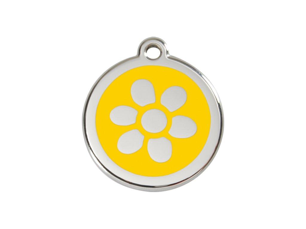 Známka pro psa RED DINGO střední, žlutá květina, s rytím