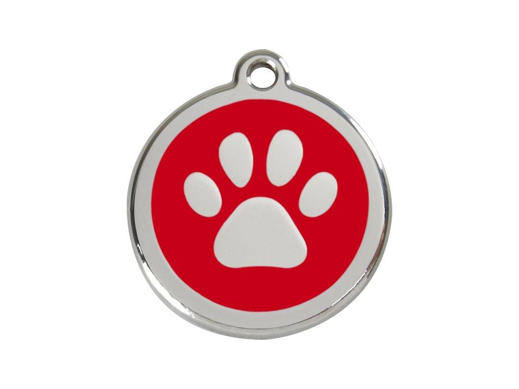 Známka pro psa RED DINGO velká, červená tlapka, s rytím