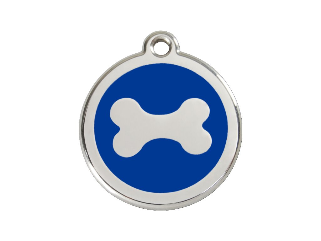 Známka pro psa RED DINGO velká, modrá kost, s rytím