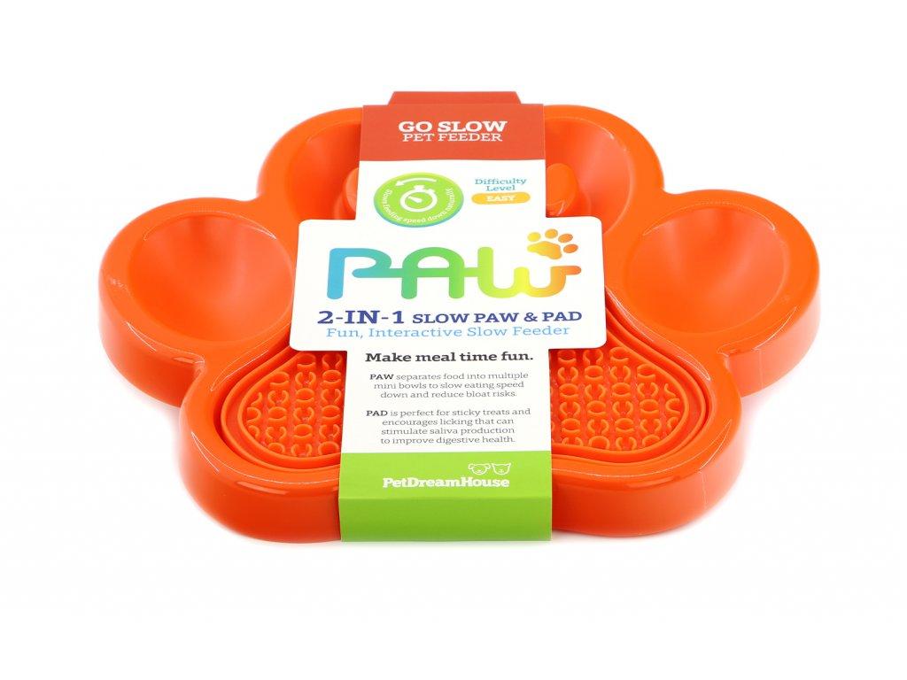 Zpomalovací miska pro psy PetDreamHouse 2v1, barva oranžová