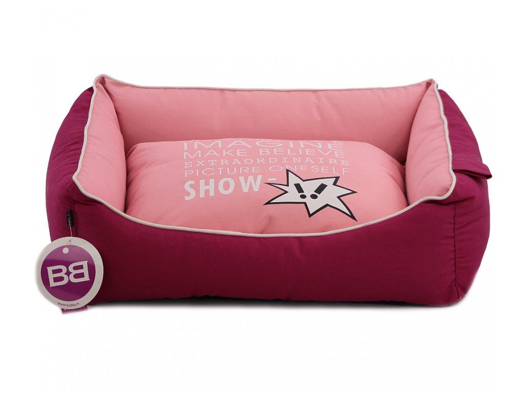 Luxusní pelíšek pro psy BOBBY CORBEILLE IMAGINE s pevným vysokým okrajem a vyjímatelnou podložkou. Potah lze sundat a prát v pračce, rozměry 60 × 51 cm.