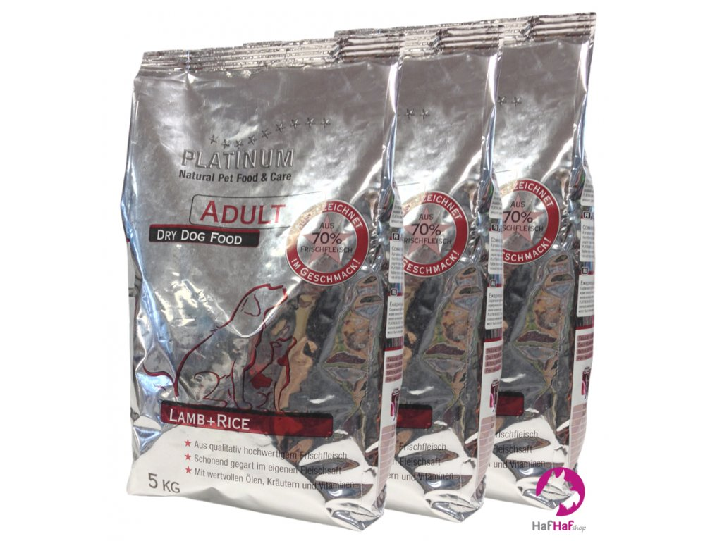 Granule pro psy PLATINUM LAMB & RICE, JEHNĚČÍ 15 kg (3x5kg)