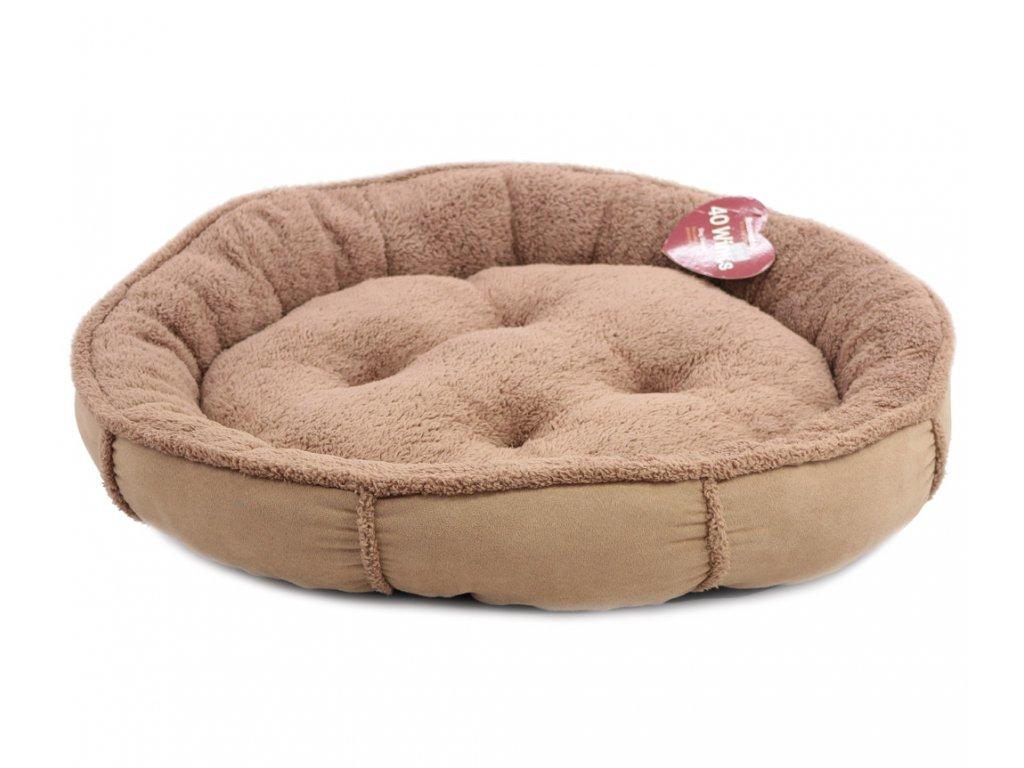 Měkký nadýchaný pelíšek pro psy vykládaný kožíškem. K dispozici ve dvou velikostech – S (58 cm) a M (68 cm), lze ho prát v pračce na 30 °C.