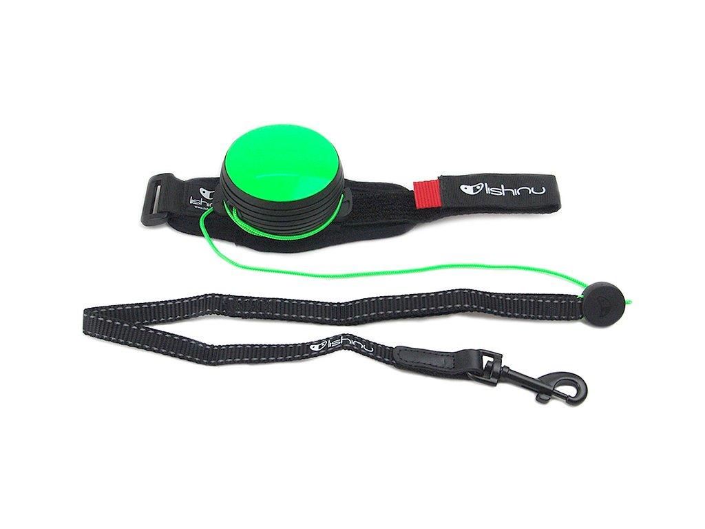 Lishinu NEON Light Lock Green – samonavíjecí vodítko na ruku  + Stopper ZDARMA