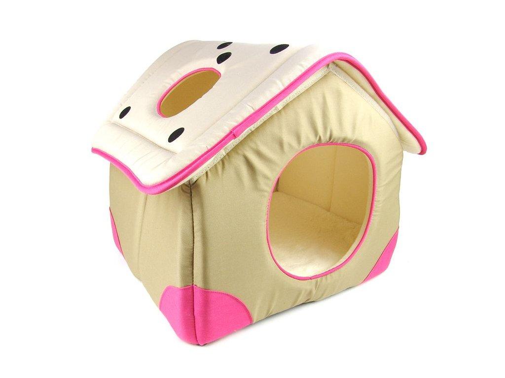 Domeček pro kočky a malé psy vyrobený z měkkého příjemného materiálu a vystlaný jemnou kožešinou.