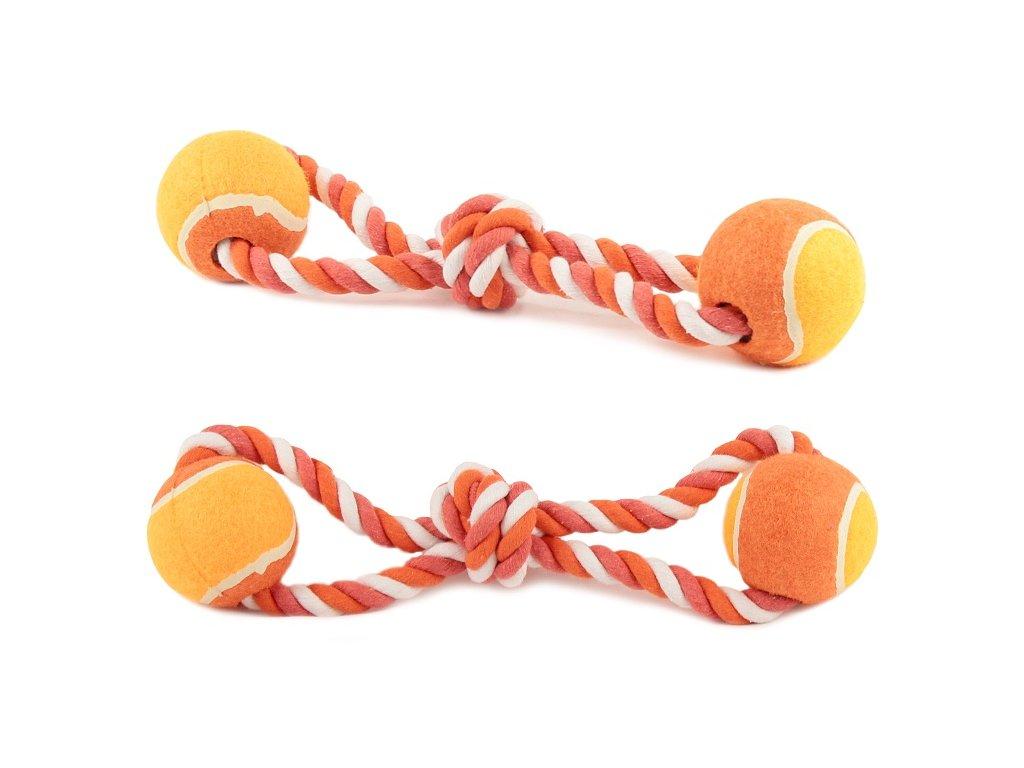 Odolná přetahovací hračka pro psy vyrobená z pevného provazu a tenisových míčků. Délka 37 cm, barva oranžová.