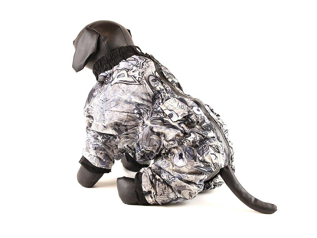 Zateplená šedá pláštěnka-overal se vzorem pro psy středních plemen