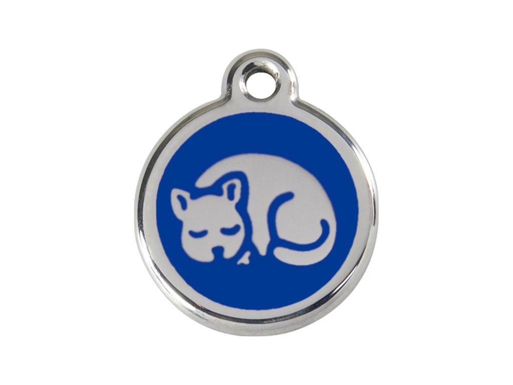Kvalitní identifikační známka pro kočky z nerezové oceli od RED DINGO zdobená smaltovaným motivem.