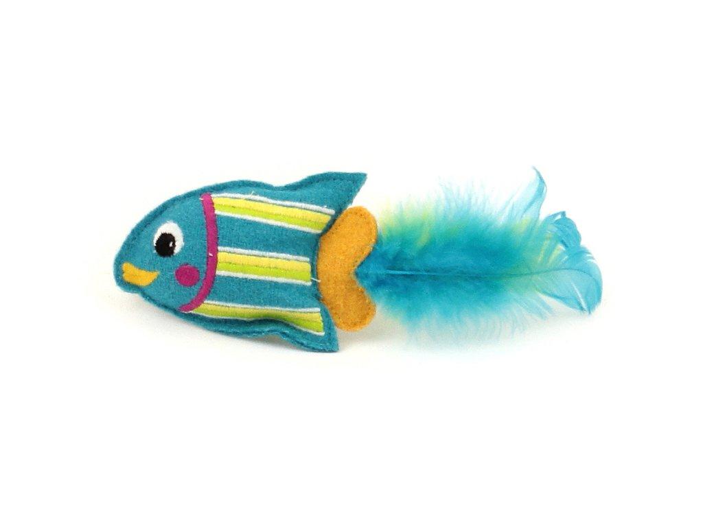Oblíbená hračka pro kočky ve tvaru tropické rybky s pírky