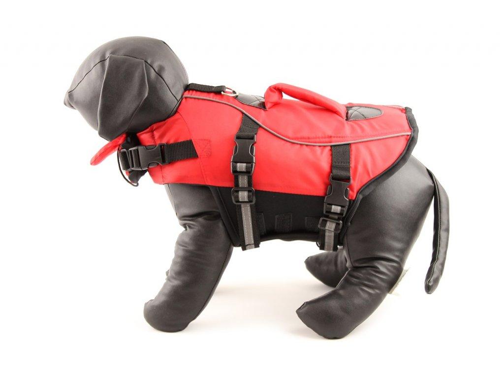 Jednoduchá plovací vesta pro psy vyrobená z pevných a odolných materiálů. Sytě červená pro dobrou viditelnost, zapínání na přezky a suchý zip.