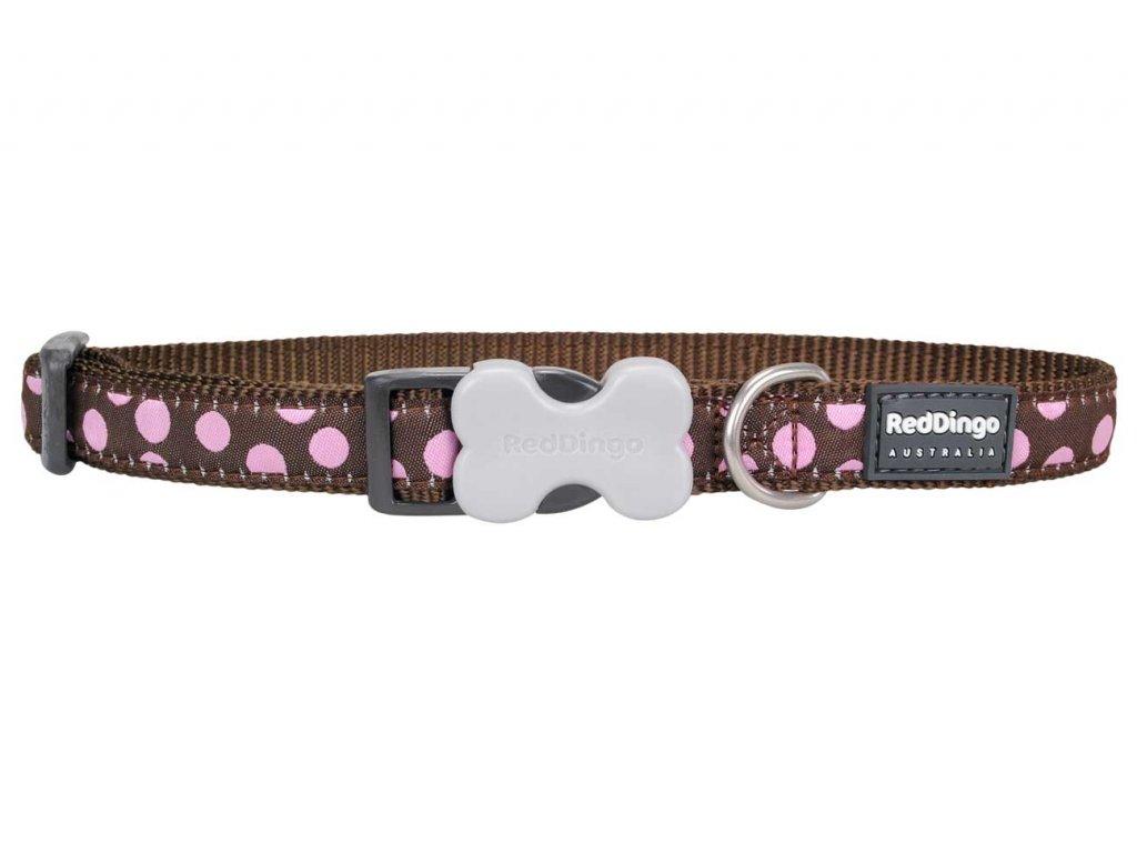 Obojek pro psa RED DINGO – Pink Spots Brown