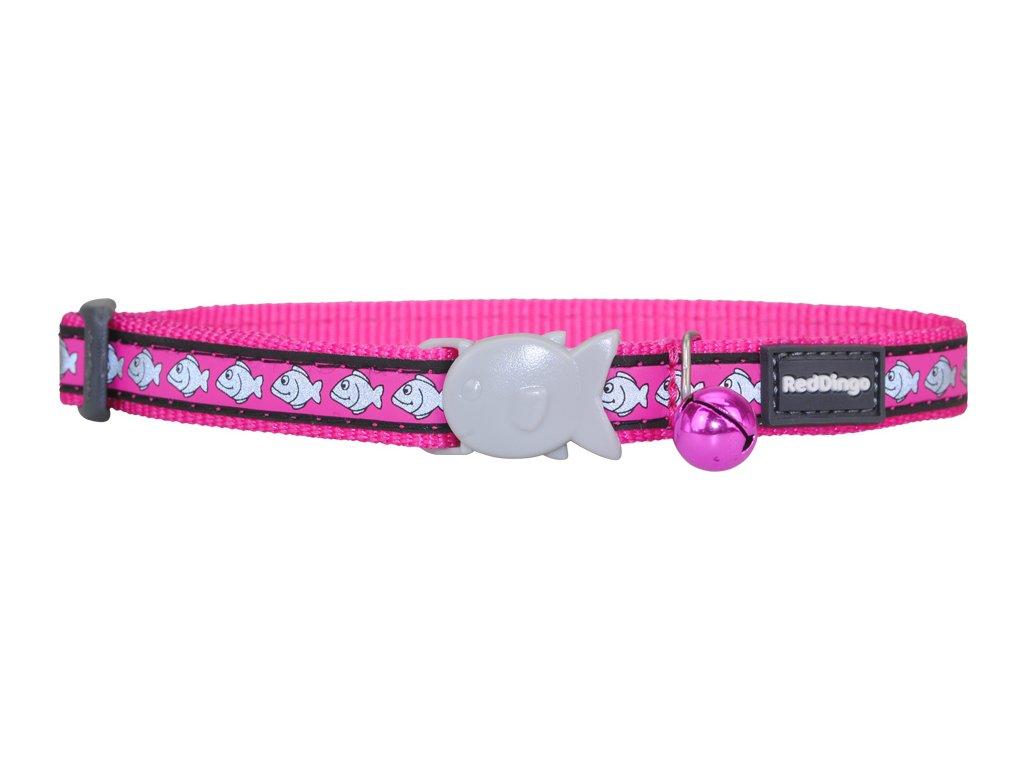Růžový reflexní obojek pro kočky z kvalitního nylonu s bezpečnostní plastovou sponou Fish Clip.