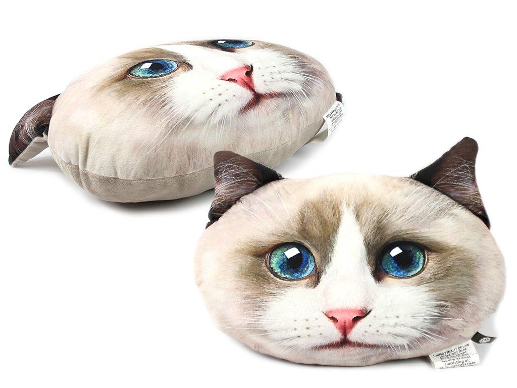 Polštář ve tvaru hlavy kočky plemene Ragdoll