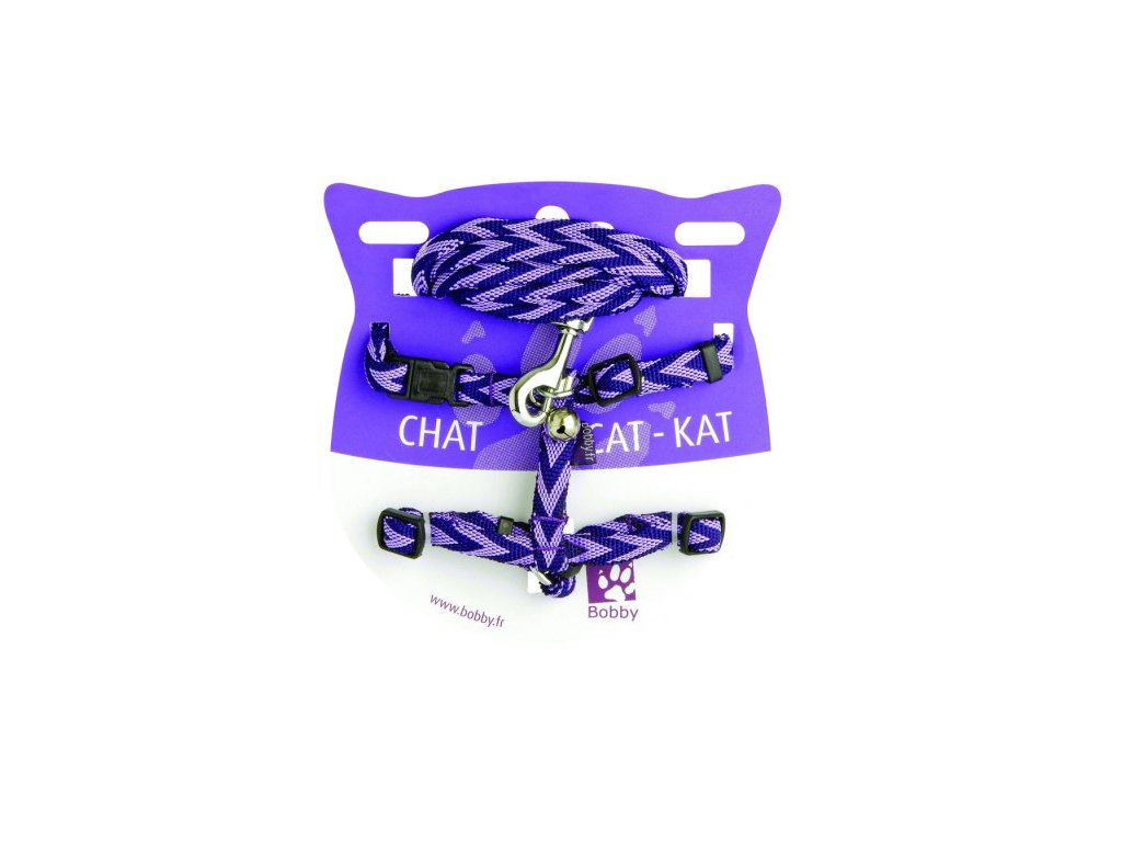 Set - Postroj a vodítko pro kočky Chevron