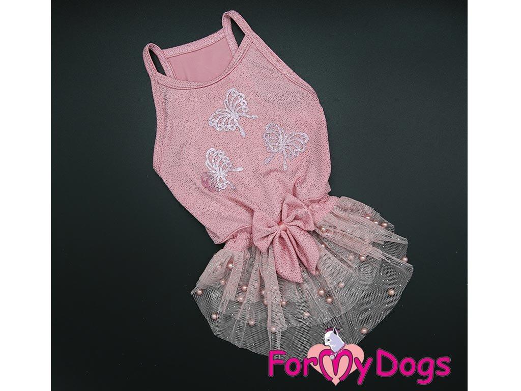 Oblečky pro psy – růžové šaty pro fenky od ForMyDogs z tenké pleteniny s tylovou baletní sukní