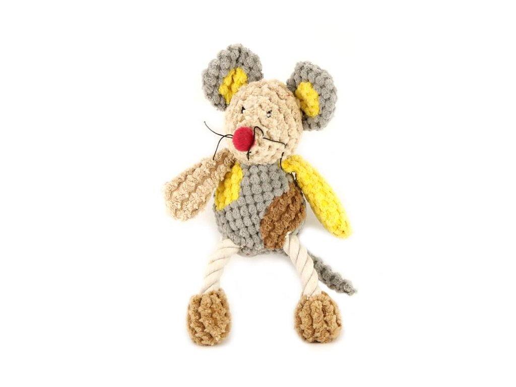 Originální hračka pro psy – plyšová myš. Příjemný měkký materiál kombinovaný s provazem.