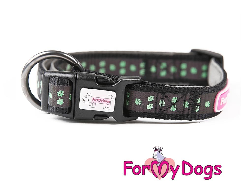 Obojky pro psy – černozelený obojek pro psy i fenky z kolekce ForMyDogs GREEN PAWS