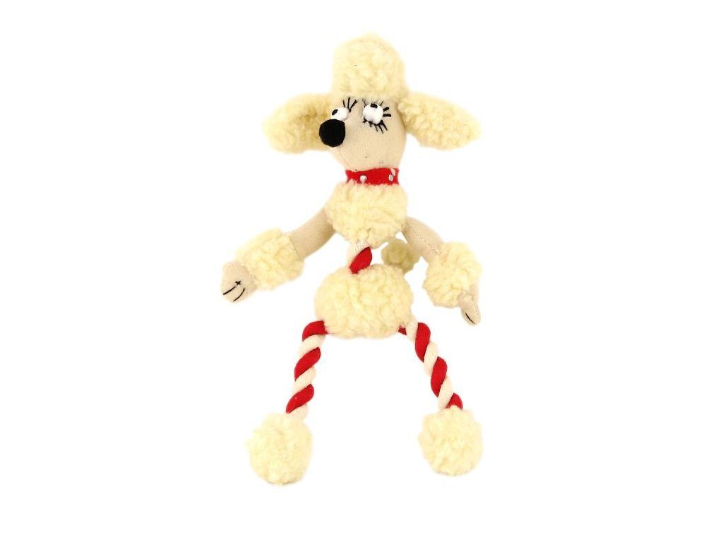 Originální hračka pro psy – plyšový pudl. Příjemný měkký materiál kombinovaný s provazem.