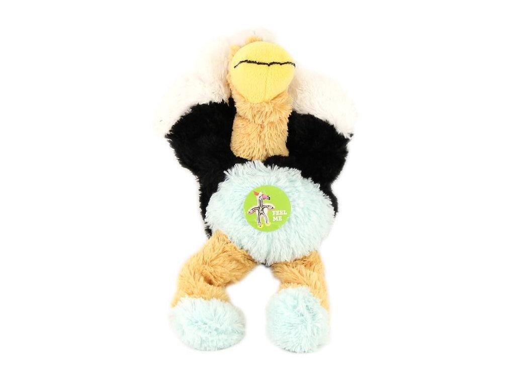 Pevná plyšová hračka pro psy, pštros – příjemný hebký materiál, uvnitř pevný provaz