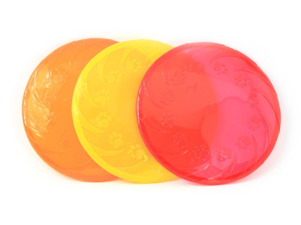 Létající talíř pro psy vyrobený z polotvrdého plastu. Strukturovaný povrch, obruba pro snadný úchop, výběr barev
