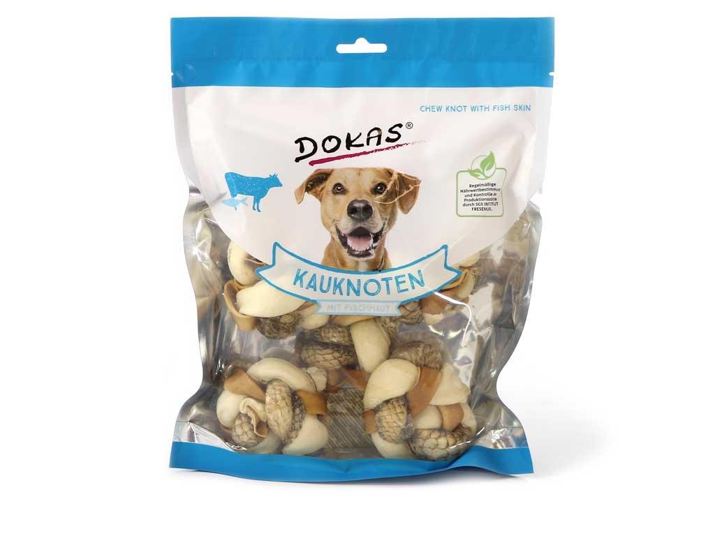 Žvýkací pochoutka pro psy – velký uzel z hovězí a rybí kůže. Bez konzervantů, umělých barviv a dochucovadel, 250 g