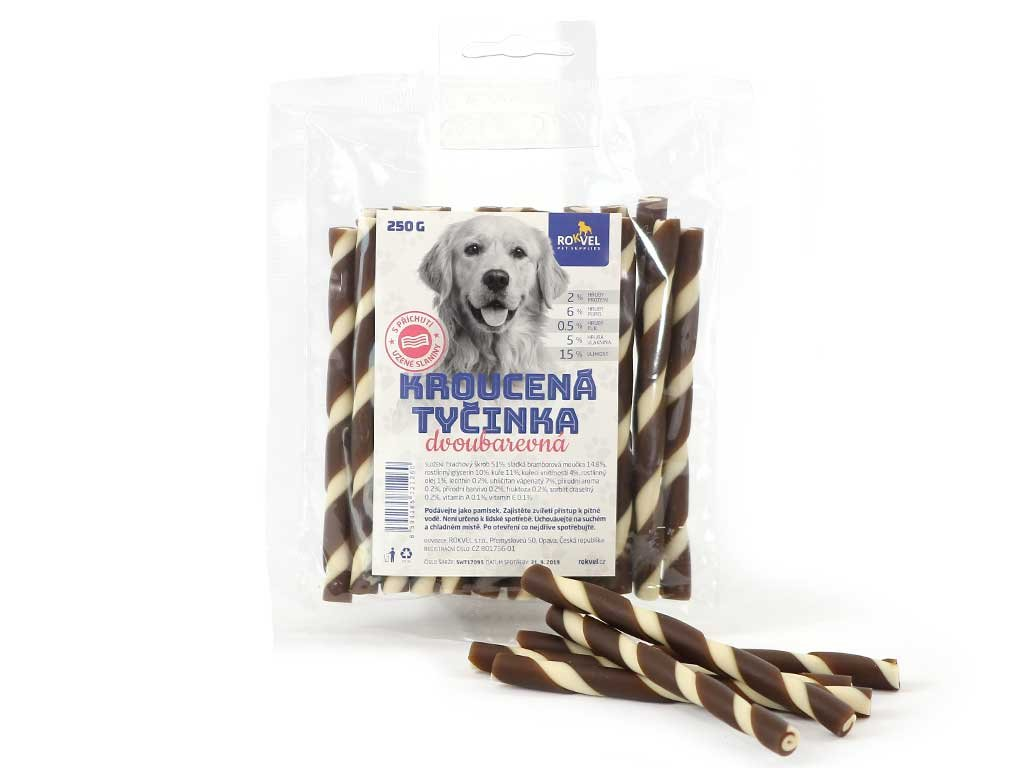 Žvýkací pamlsky pro psy – kroucené dvoubarevné tyčinky s příchutí uzené slaniny