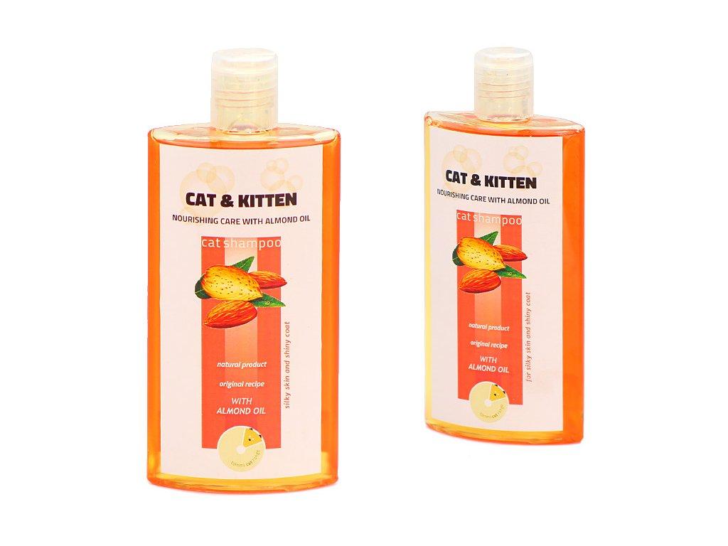 Šampón TOMMI Cat and Kitten s mandlovým olejem pro zdravou a jemnou srst koček a koťat. Objem 250 ml.