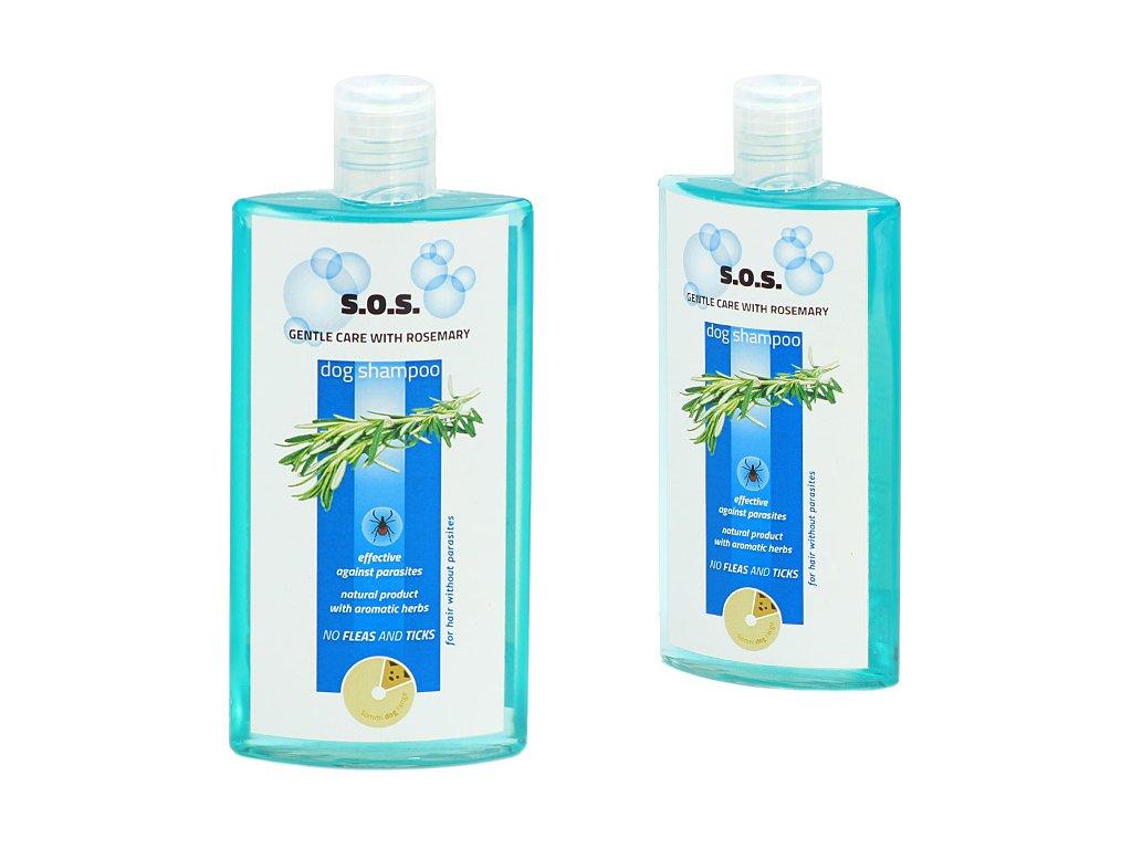 Šampón pro psy TOMMI S.O.S. s rozmarýnem pro efektivní boj proti blechám a klíšťatům. Objem 250 ml.