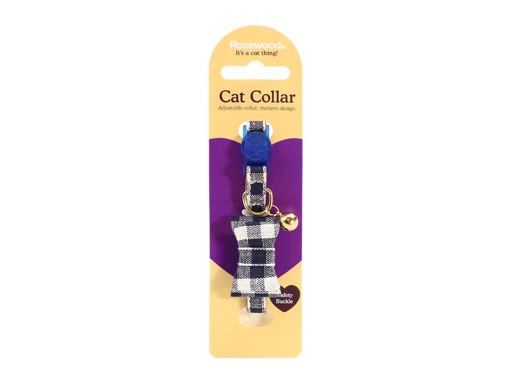 Stylový obojek pro kočky ROSEWOOD – modrobílý s mašlí a rolničkou. Bezpečnostní plastová spona, univerzální velikost.