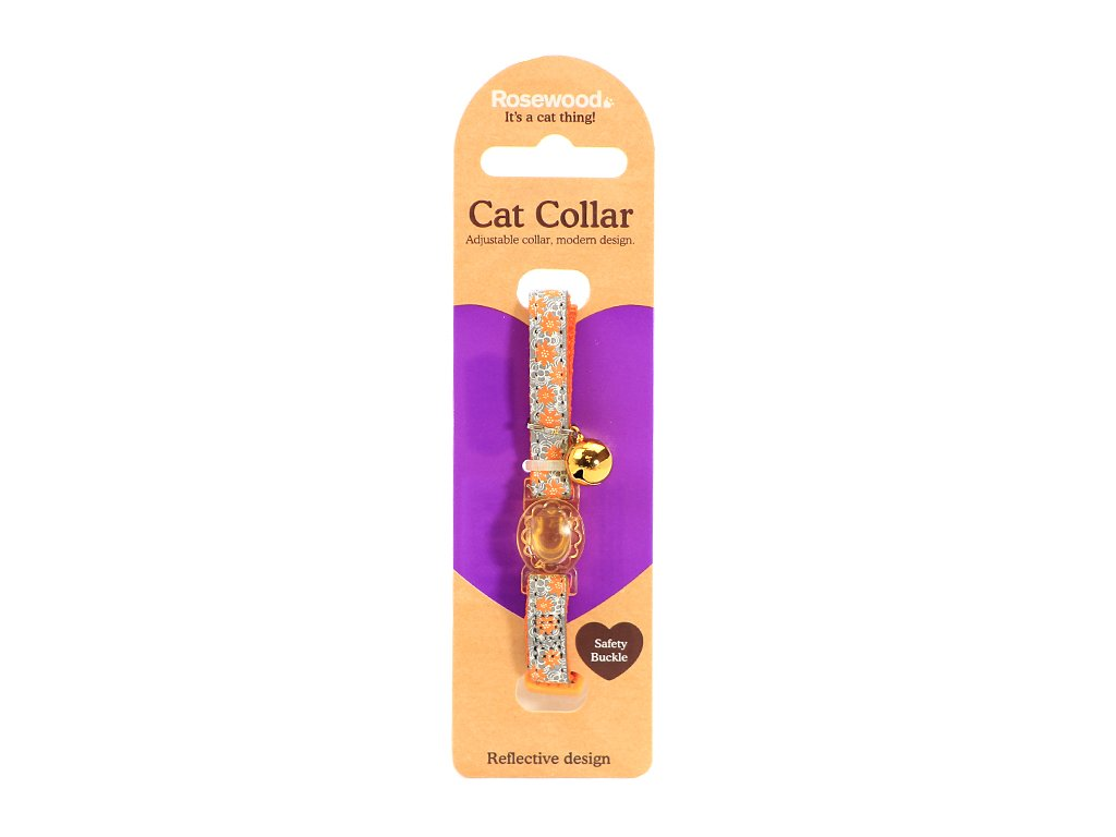 Stylový obojek pro kočky ROSEWOOD s oranžovým květinovým vzorem a reflexními prvky. Bezpečnostní plastová spona, univerzální velikost.