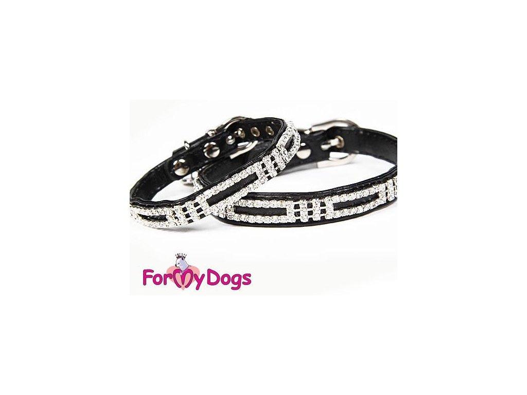 Luxusní černý obojek pro psy s kamínky For My Dogs