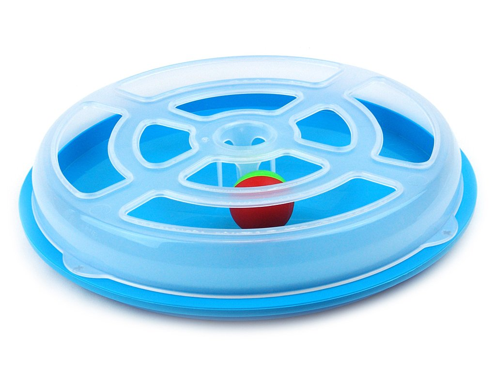 Interaktivní hračka pro kočky – disk s míčkem. Průměr disku 29 cm, výška 5 cm.