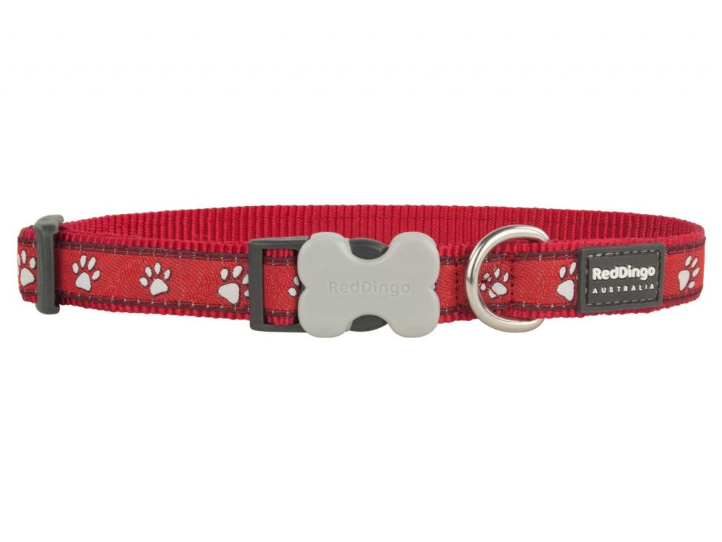 Obojek pro psa RED DINGO – Pawprints Red