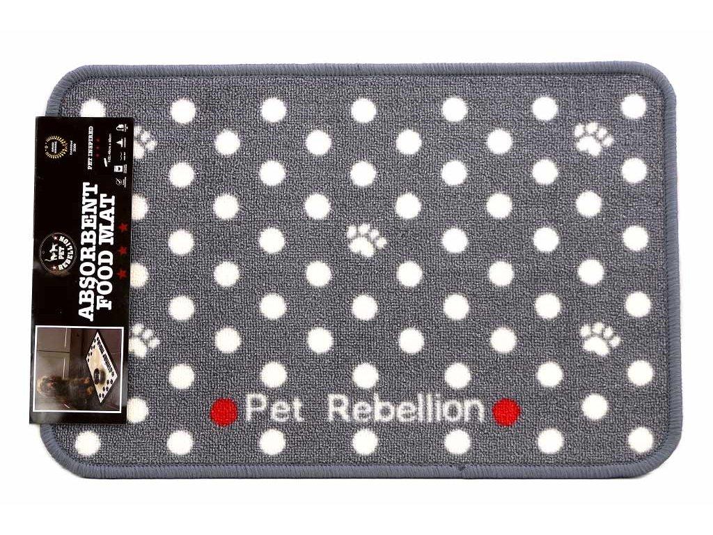 Praktický kobereček pod misky s vodou i krmivem. Chrání podlahu před poškozením i znečištěním a má vysokou absorbční schopnost. Barva šedá s bílými puntíky.
