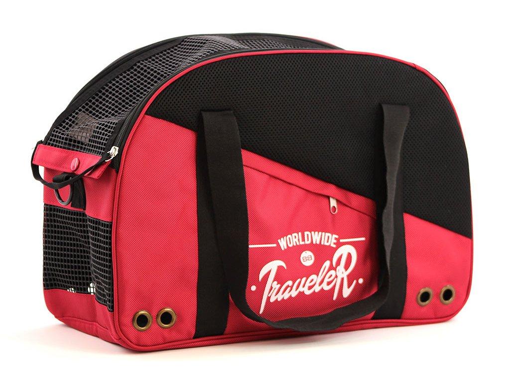 Praktická přepravní taška na psy v precizním provedení a designu BOBBY. Síťovaná vrchní strana, větrací otvory, vyjímatelná podložka. Barva červená.
