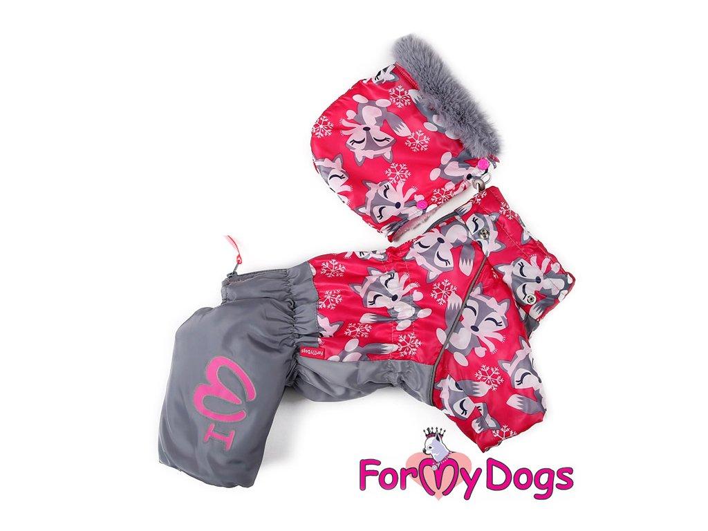 Obleček pro fenky – teplý zimní overal FOX od ForMyDogs. Kožešinová podšívka, vylepšené zapínání na zádech, odnímatelná kapuce, rukávy s vnitřní manžetou.