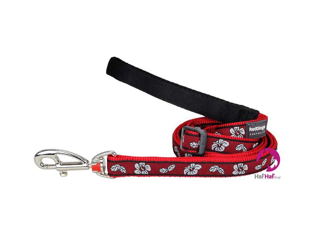 Vodítko pro psy Hibiscus Red – STŘEDNÍ