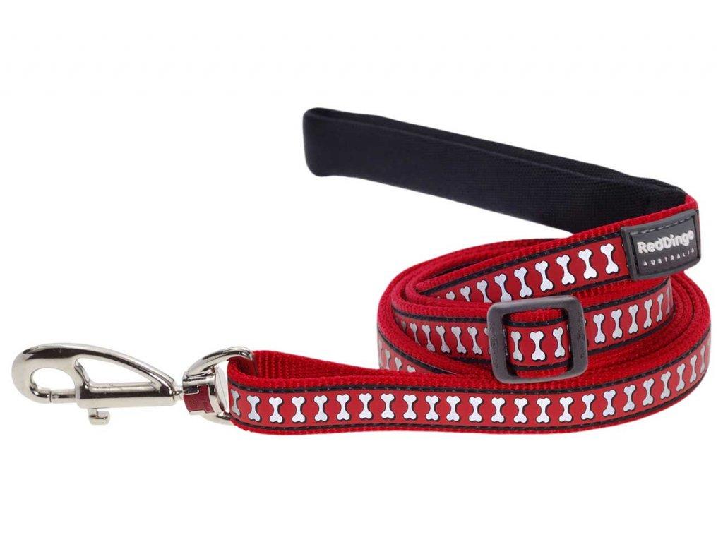 Reflexní vodítko pro psa, červené