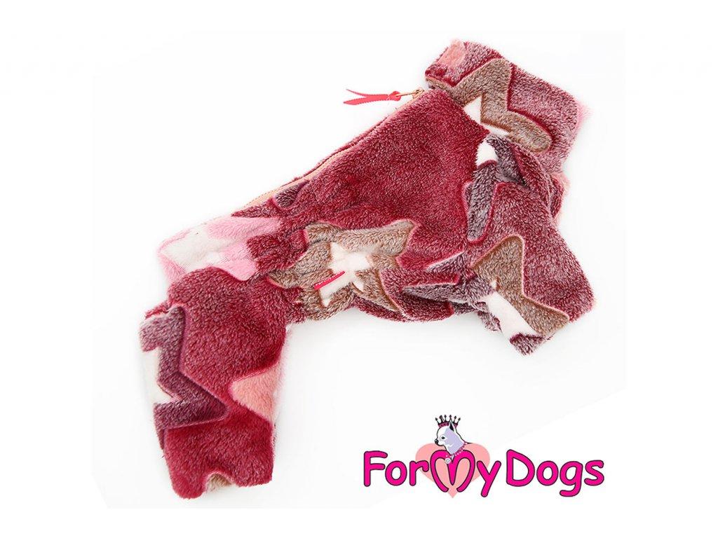Obleček pro fenky – teplý zimní overal STARS od ForMyDogs z plyšové kožešiny. Zapínání na zip zádech, zvýšený límec pro lepší ochranu krku.