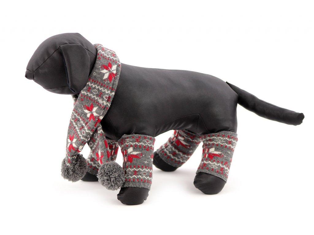 Originální zimní set pro psy – šála na suchý zip a 4 nohavice. Materiál 100% akryl, vhodné pro malé a středně velké psy.