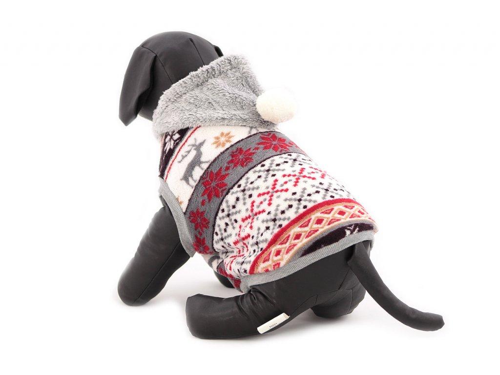 Stylový flísový svetr pro psy se svátečním motivem. Svetr je elastický a snadno se přizpůsobí každému obvodu hrudníku, tři velikosti na výběr.