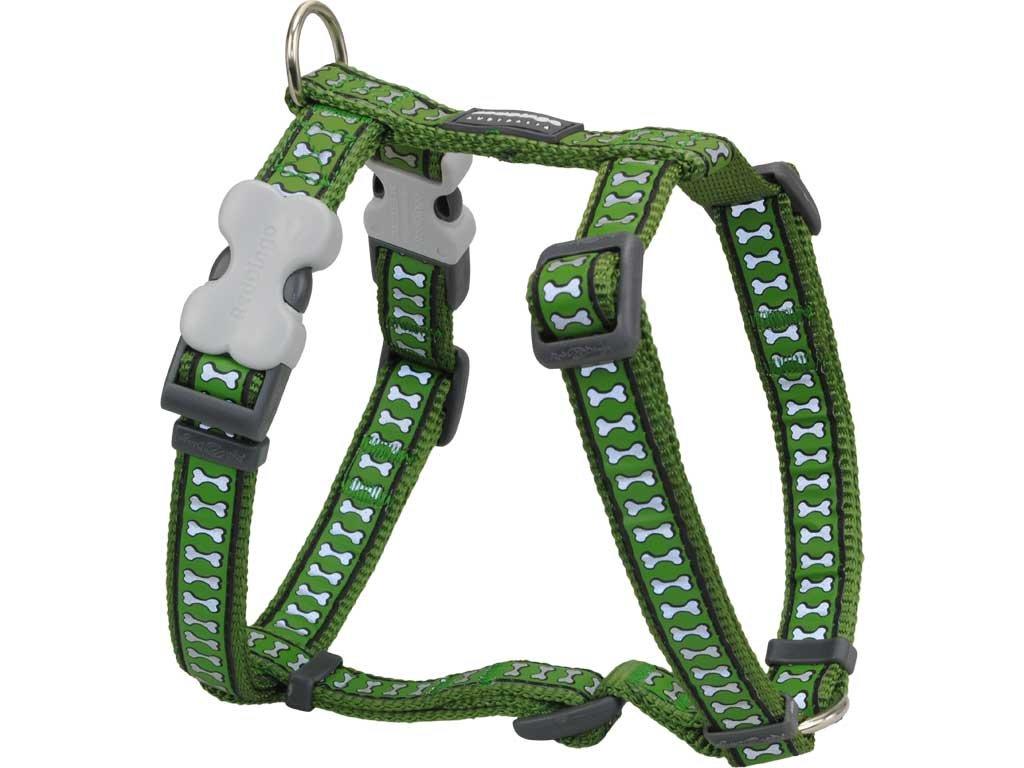 Reflexní postroj pro psa, zelený