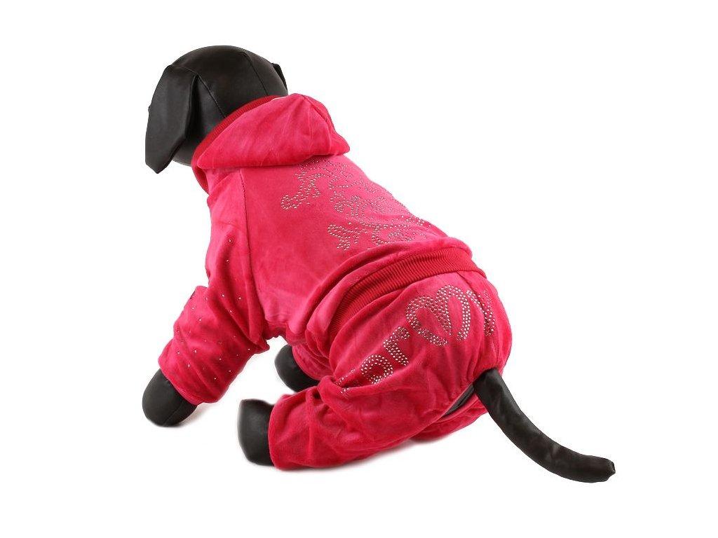 Oblečky pro psy – velurový overal pro psy a fenky For My Dogs, červený
