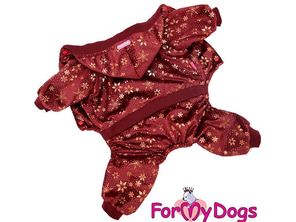 Obleček pro psy i fenky overal FMD VELOR BURGUNDY